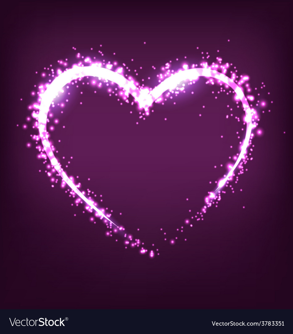 Sparkling heart on violet vector | Price: 1 Credit (USD $1)