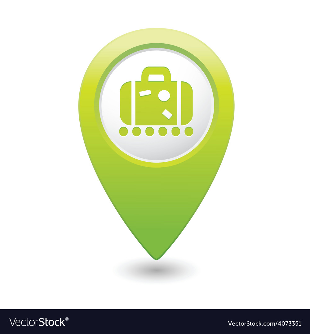 Suitecase green map pointer vector | Price: 1 Credit (USD $1)