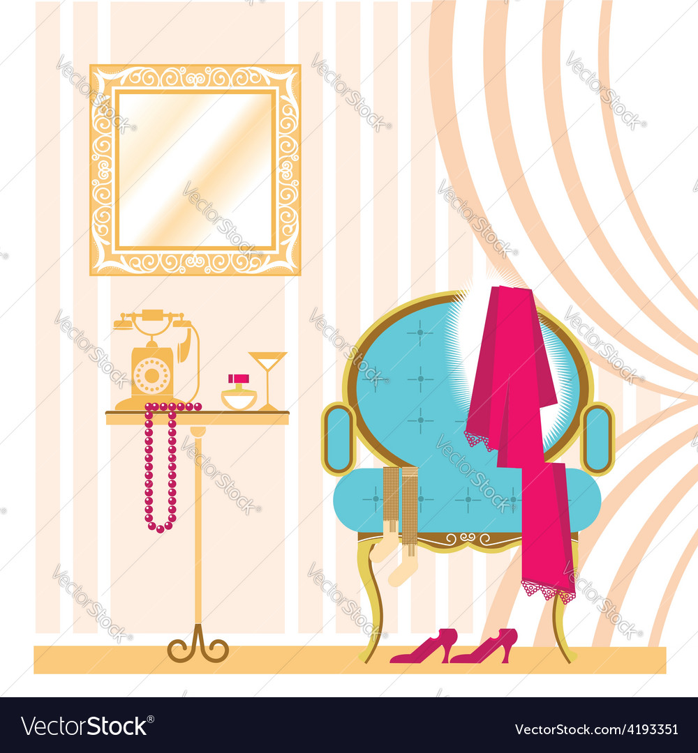 Vintage ladies dressing room interior background vector | Price: 3 Credit (USD $3)