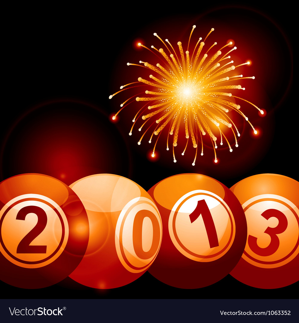2013 bingo lottery balls and firework vector | Price: 1 Credit (USD $1)