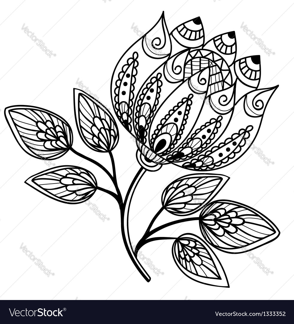 Beautiful black-and-white flower hand drawing vector | Price: 1 Credit (USD $1)