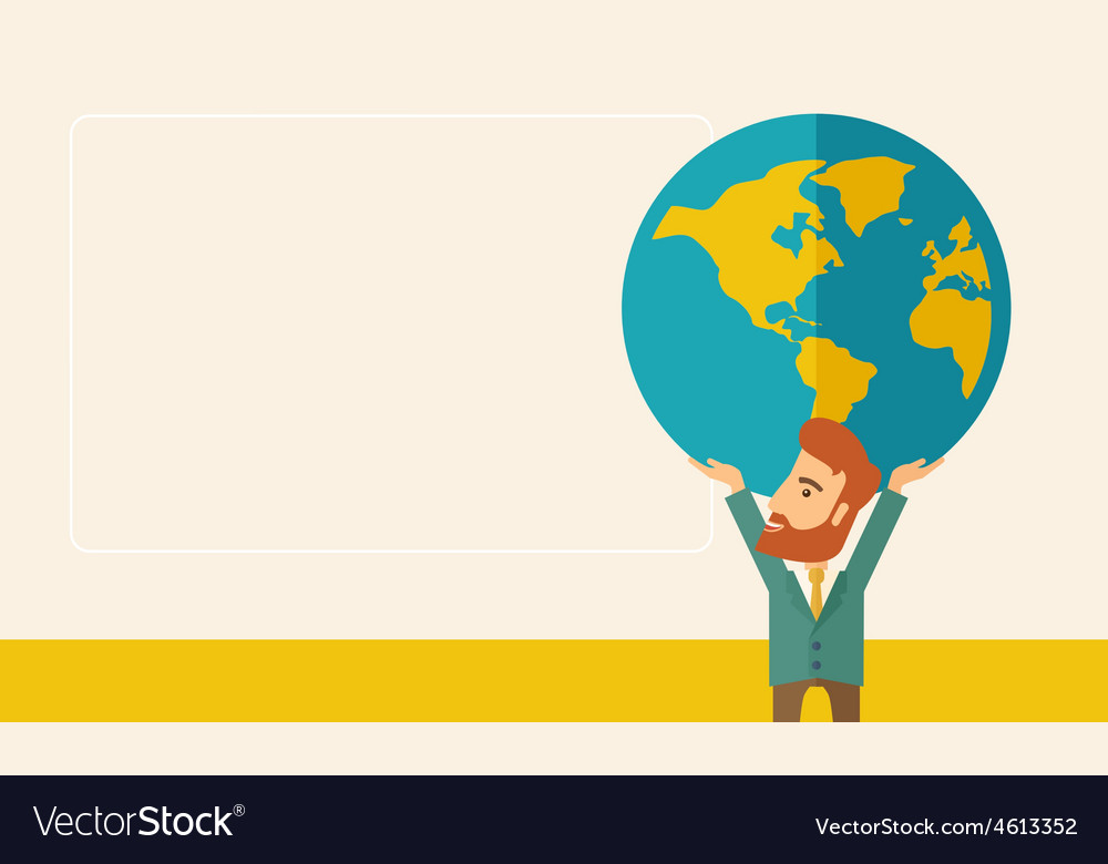 Businessman carrying big globe vector | Price: 1 Credit (USD $1)