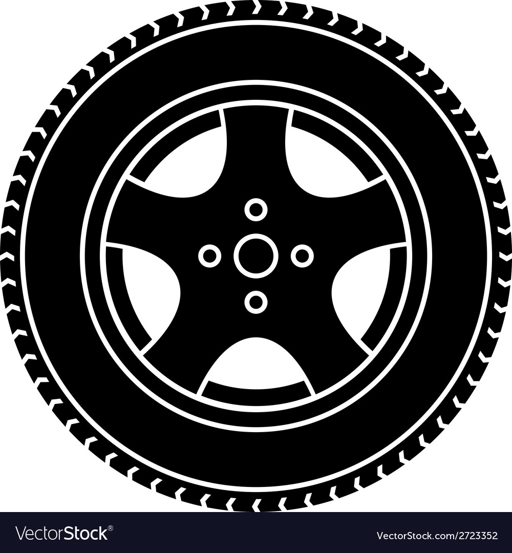 Car wheel black white symbol vector | Price: 1 Credit (USD $1)