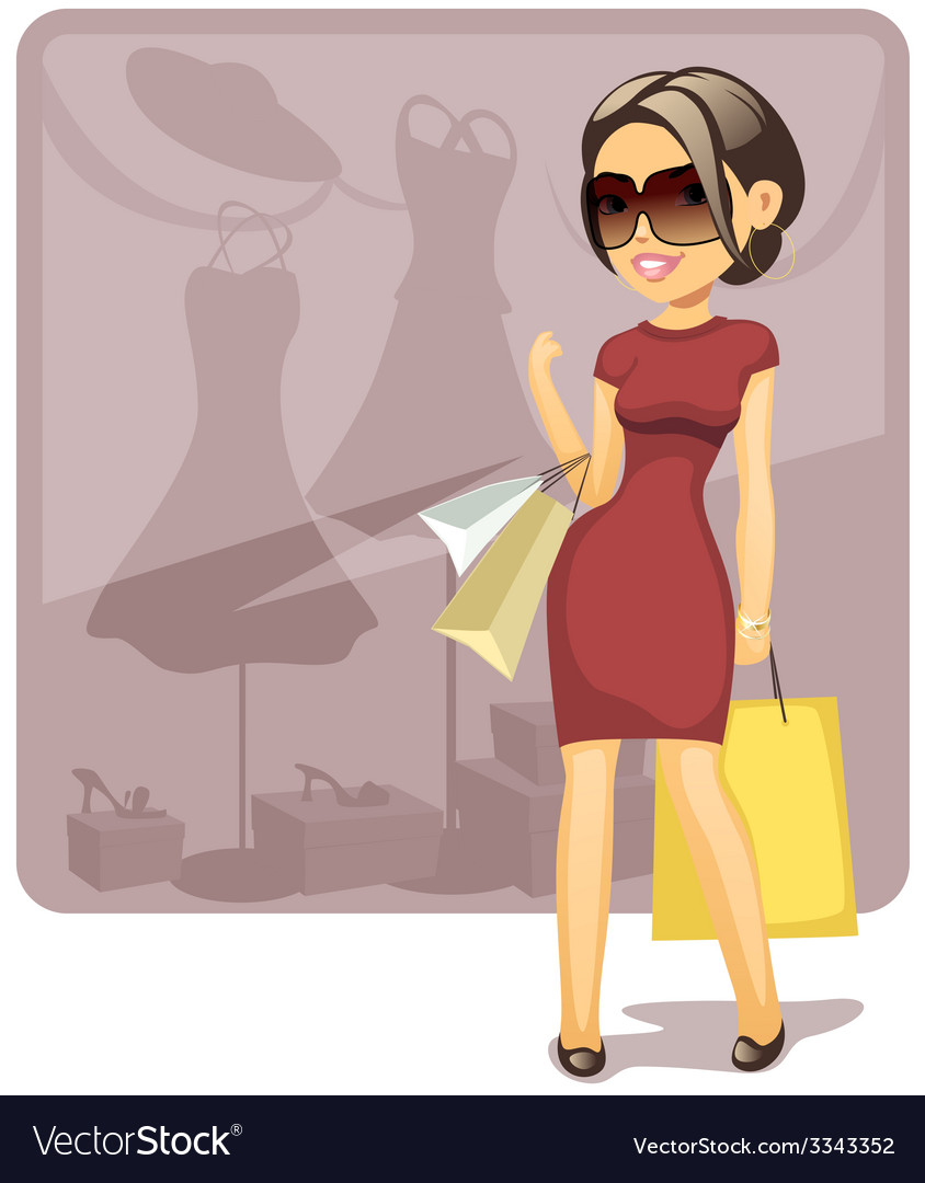 Cartoon shopping girl vector | Price: 3 Credit (USD $3)