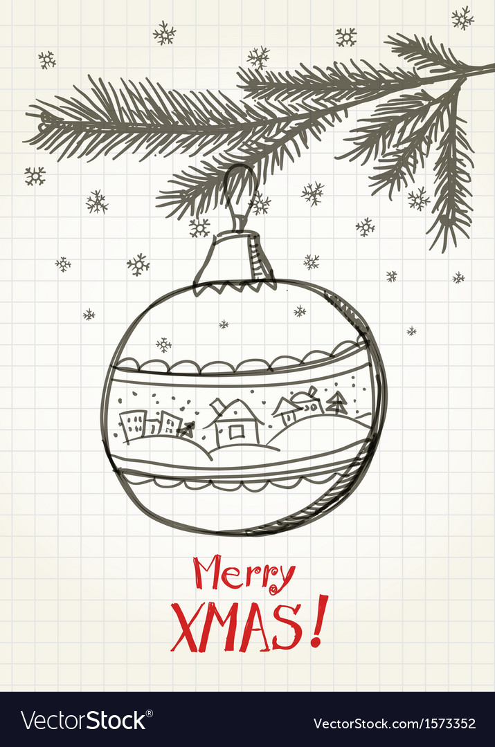 Christmas bauble on the christmas tree vector   Price: 1 Credit (USD $1)
