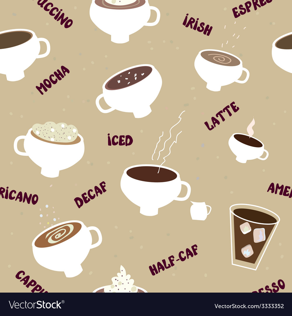 Coffee seamless pattern of different kinds vector | Price: 1 Credit (USD $1)