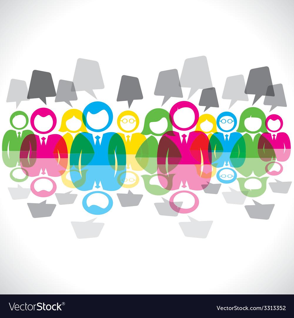 Color businessmen meeting message bubble vector   Price: 1 Credit (USD $1)