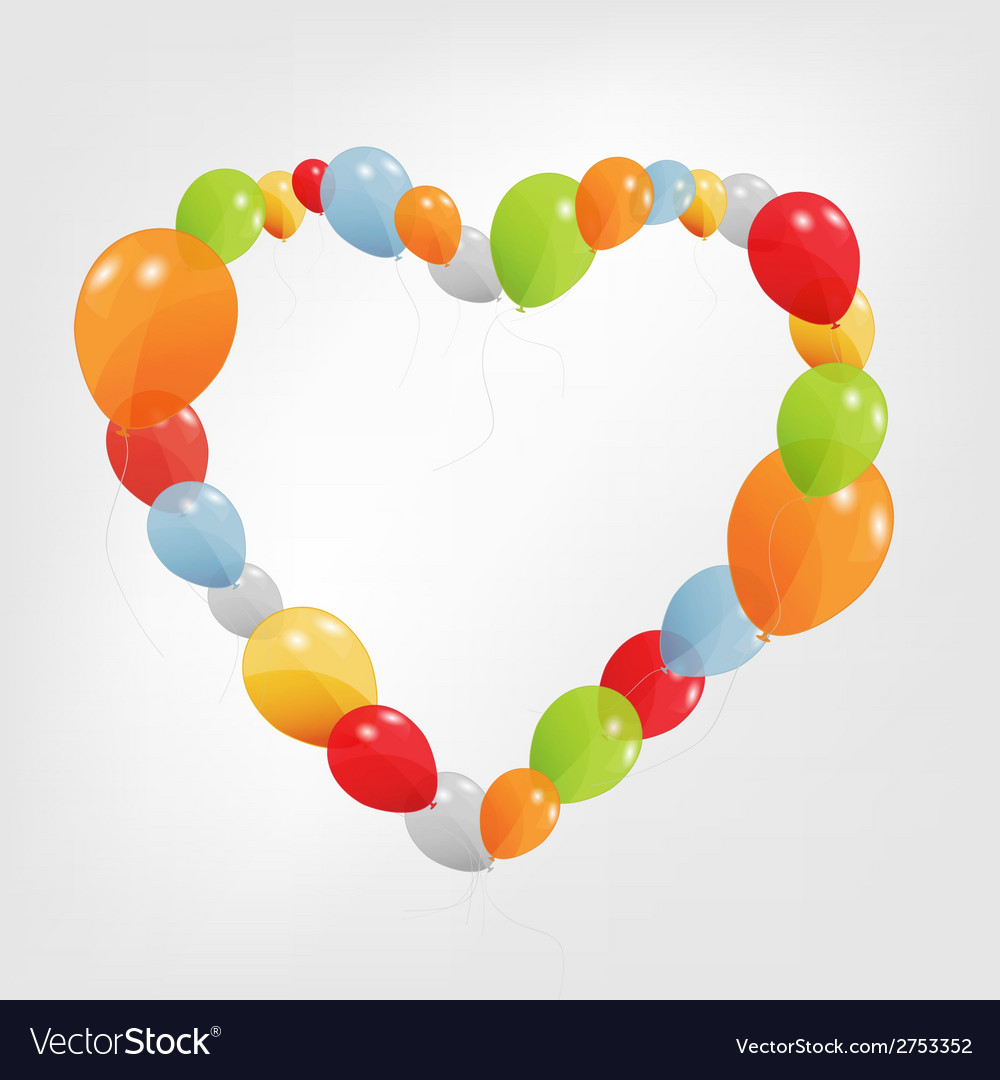 Colorful heart from balloons vector | Price: 1 Credit (USD $1)