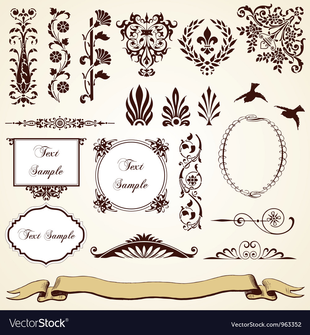 Decorative ornaments vintage design vector | Price: 1 Credit (USD $1)