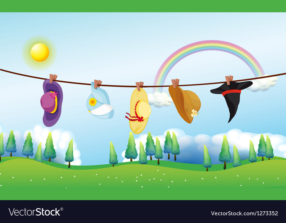 Different kinds of hats hanging under the sun vector | Price: 1 Credit (USD $1)