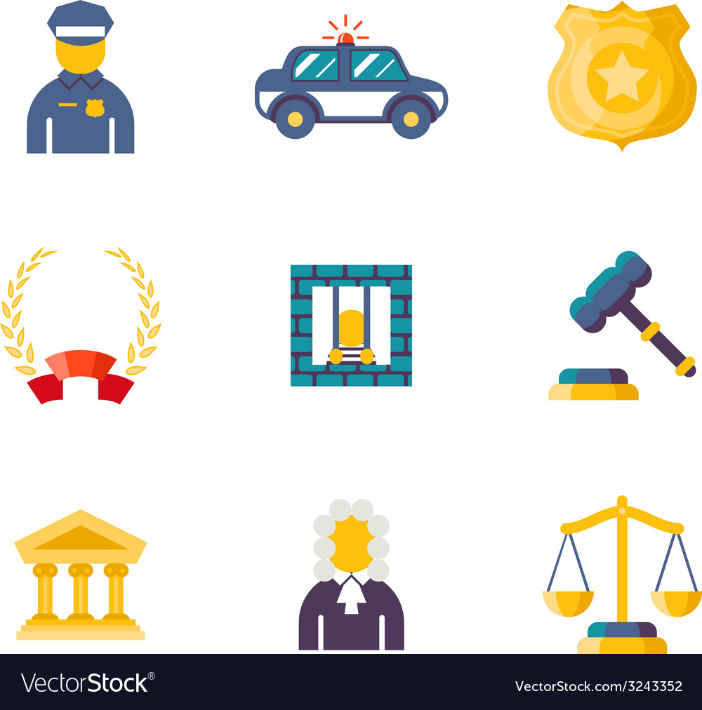 Flat law icons vector | Price: 1 Credit (USD $1)