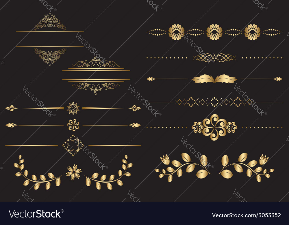 Golden design elements with gradient vector | Price: 1 Credit (USD $1)