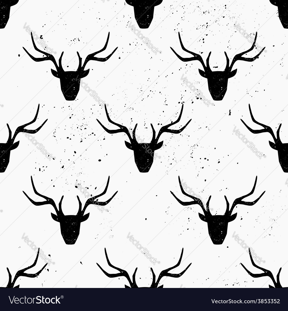 Hand drawn deer heads abstract seamless pattern vector | Price: 1 Credit (USD $1)