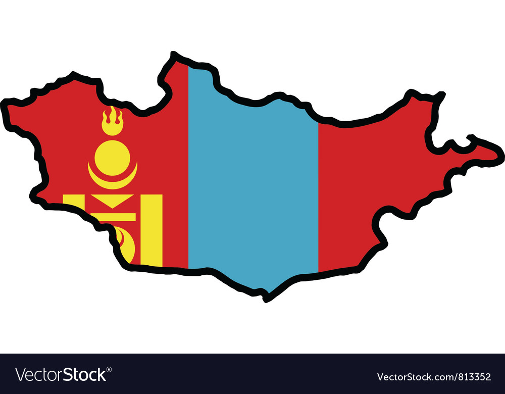 Map in colors of mongolia vector | Price: 1 Credit (USD $1)