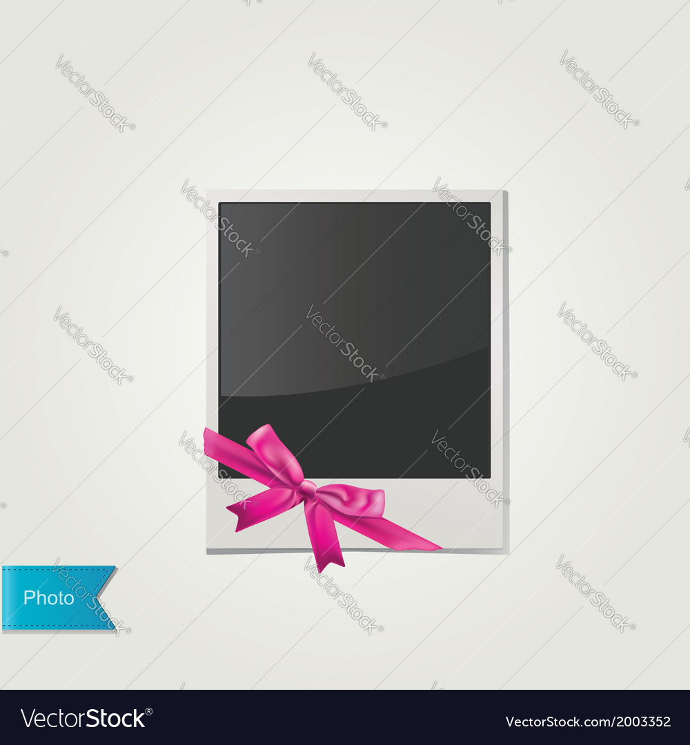 Polaroid photo with cute pink bow isolated vector | Price: 1 Credit (USD $1)