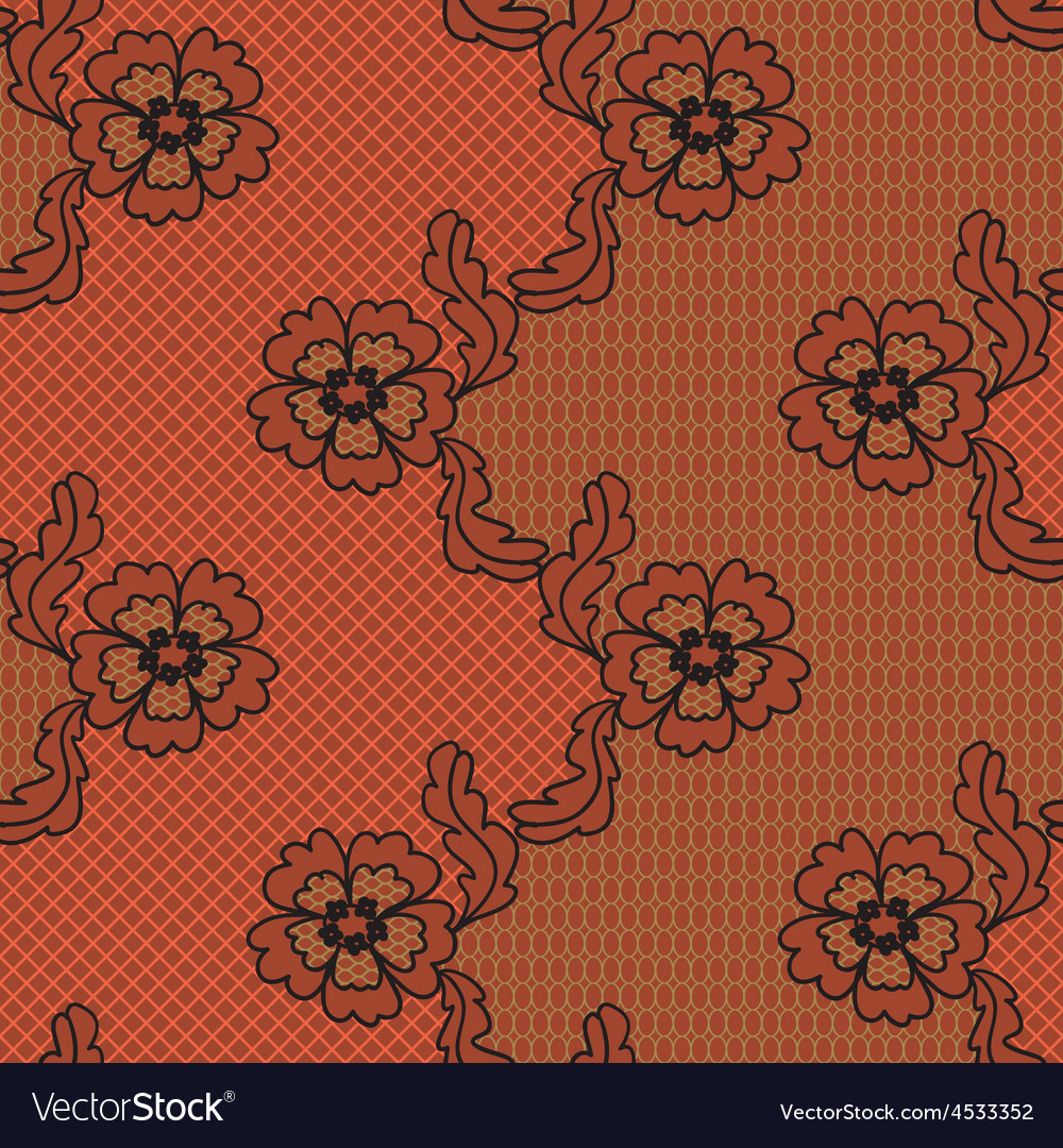 Red lace fabric seamless pattern vector | Price: 1 Credit (USD $1)
