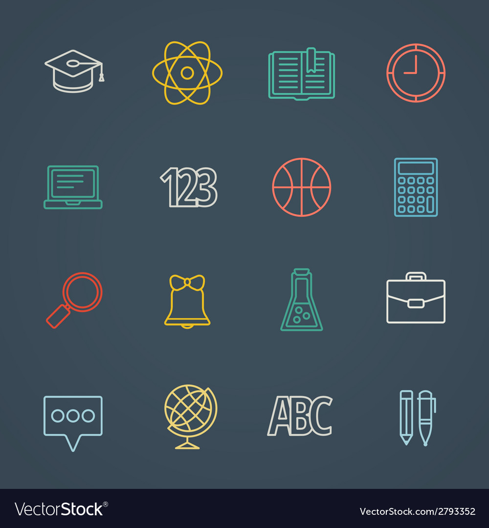 School and education flat design icons set vector | Price: 1 Credit (USD $1)