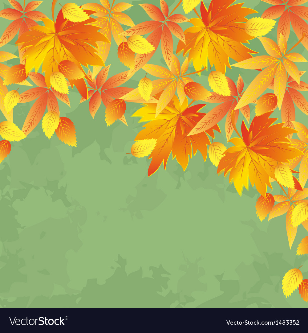Vintage autumn background leaf fall vector | Price: 1 Credit (USD $1)