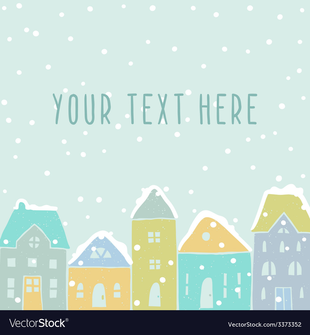 Winter houses card template vector | Price: 1 Credit (USD $1)