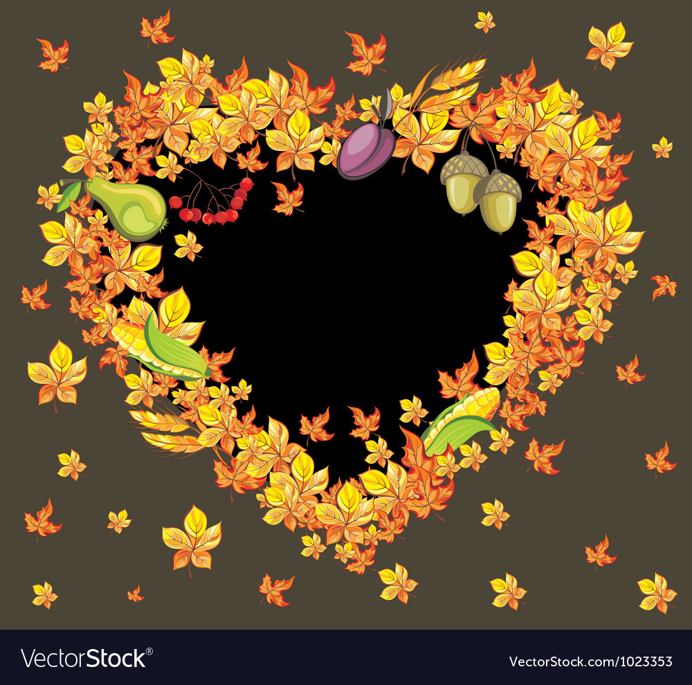 Autumn heart background vector | Price: 1 Credit (USD $1)