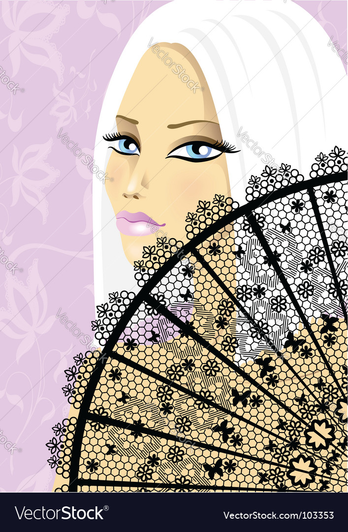 Beautiful girl with fan vector | Price: 1 Credit (USD $1)