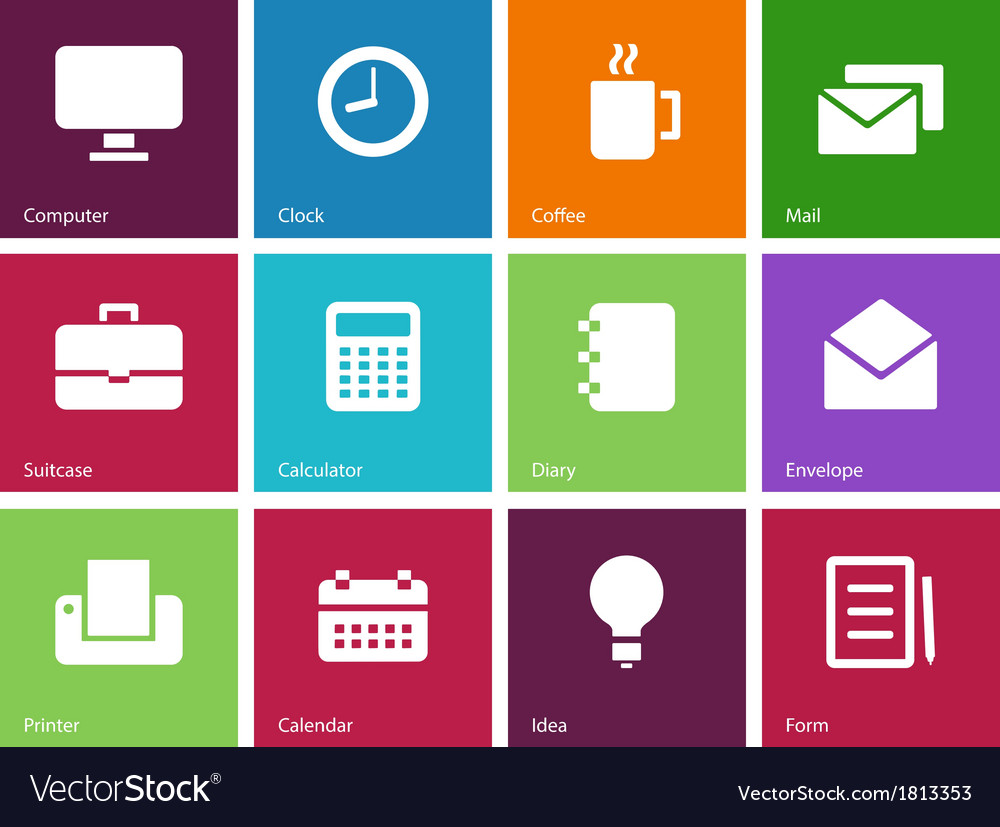Business color icons vector   Price: 1 Credit (USD $1)