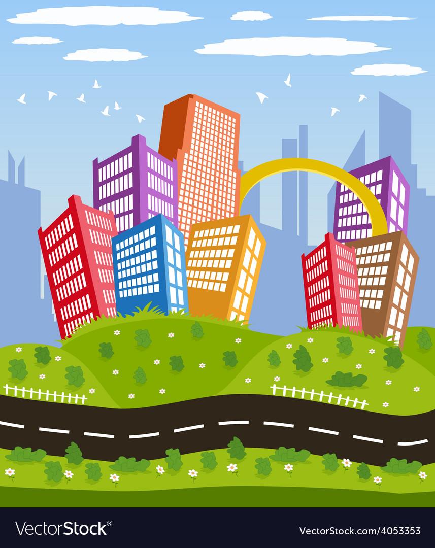 Cartoon downtown road landscape vector | Price: 1 Credit (USD $1)