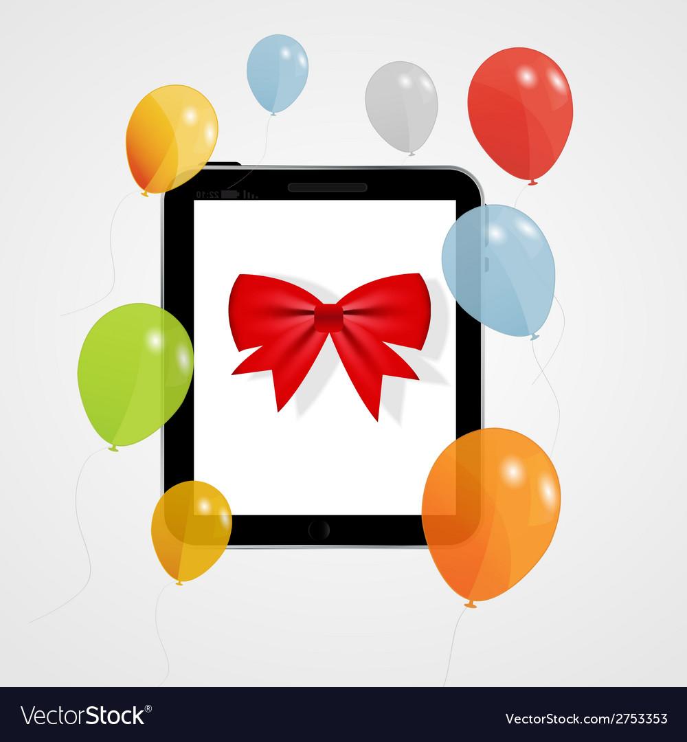 Digital tablet gift vector | Price: 1 Credit (USD $1)