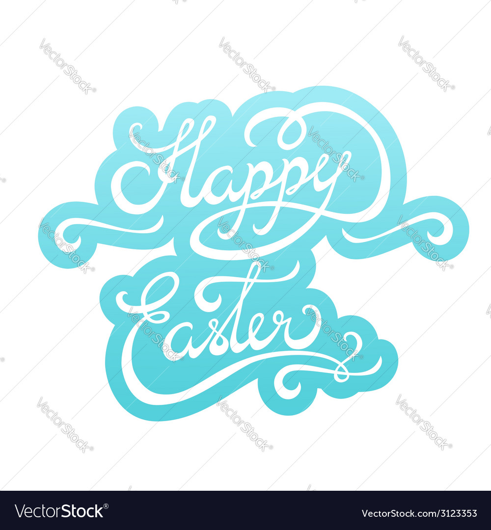 Happy easter lettering sticker vector | Price: 1 Credit (USD $1)