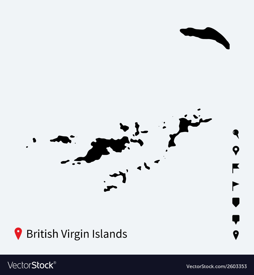 High detailed map of british virgin islands with vector | Price: 1 Credit (USD $1)