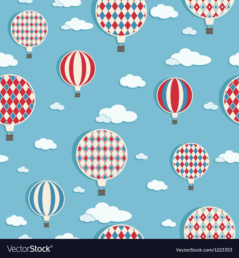 Hot air balloons pattern vector | Price: 1 Credit (USD $1)