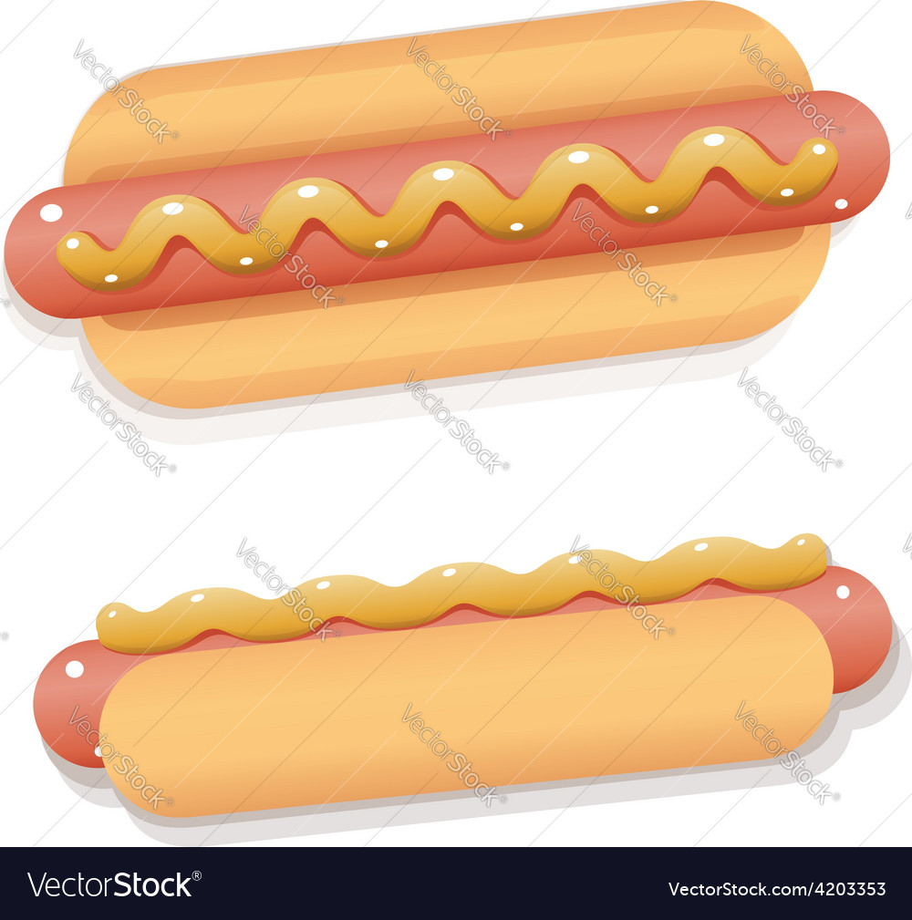 Juicy and shiny cartoon hot dog with mustard vector | Price: 1 Credit (USD $1)