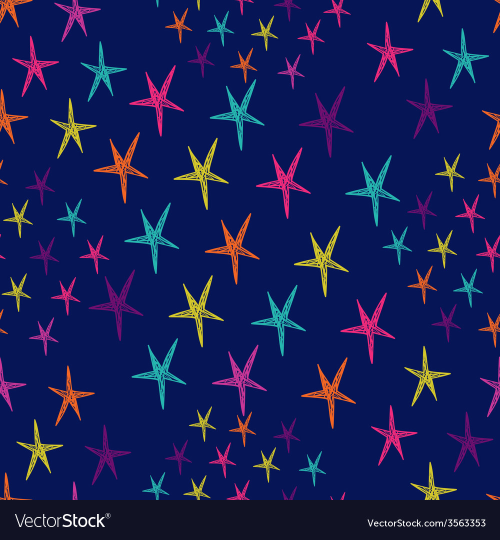 Seamless pattern with colorful stars endless blue vector | Price: 1 Credit (USD $1)