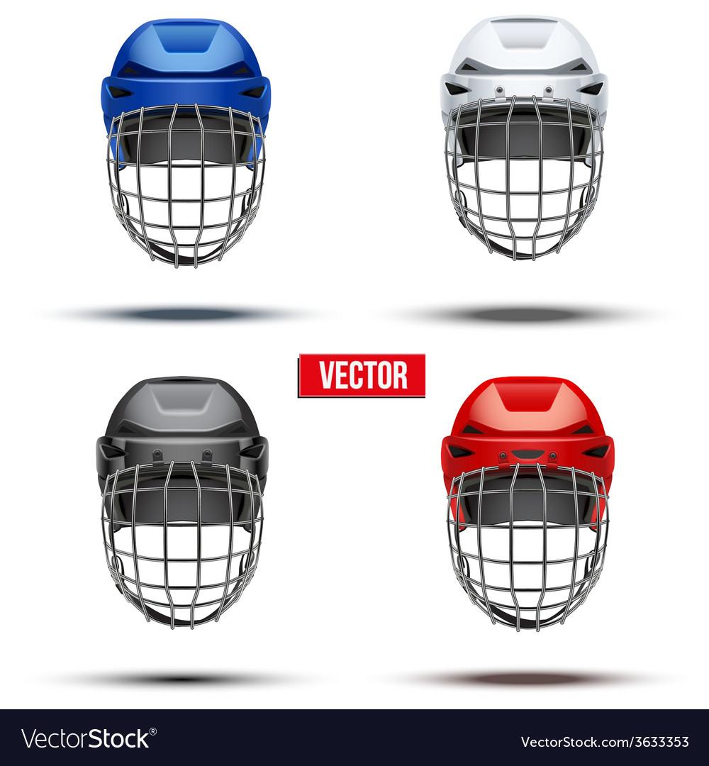 Set of classic ice hockey helmets vector | Price: 1 Credit (USD $1)