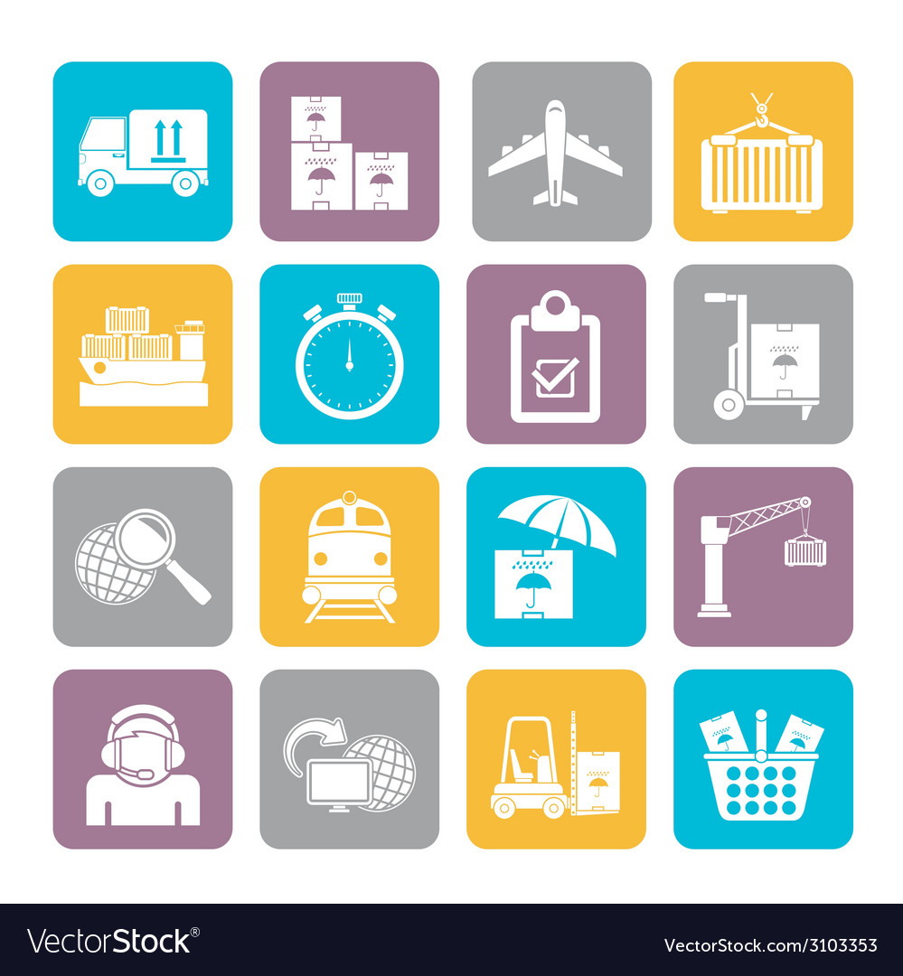 Silhouette cargo and logistic icons vector | Price: 1 Credit (USD $1)