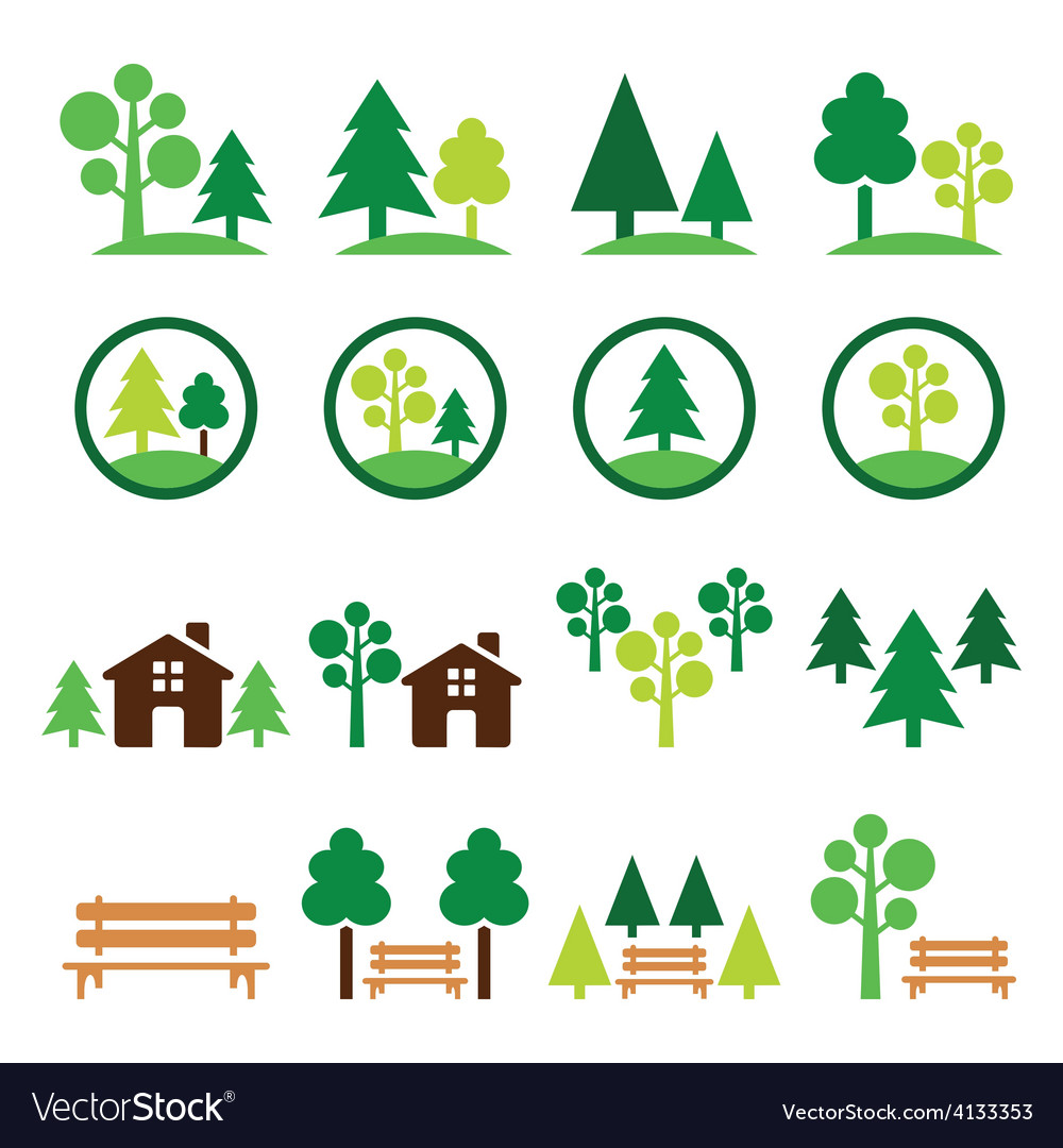 Trees forest park green icons set vector | Price: 1 Credit (USD $1)