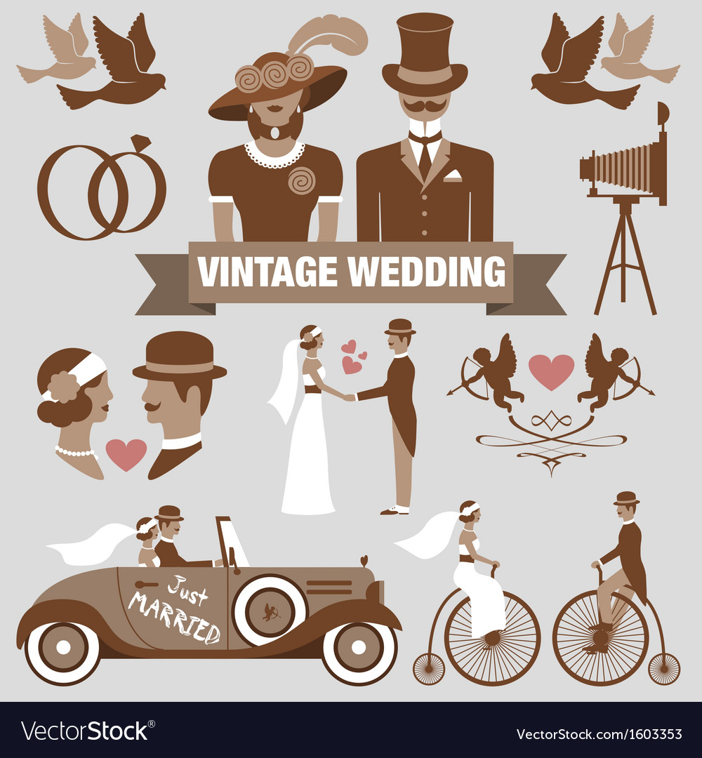 Vintage wedding set vector | Price: 1 Credit (USD $1)