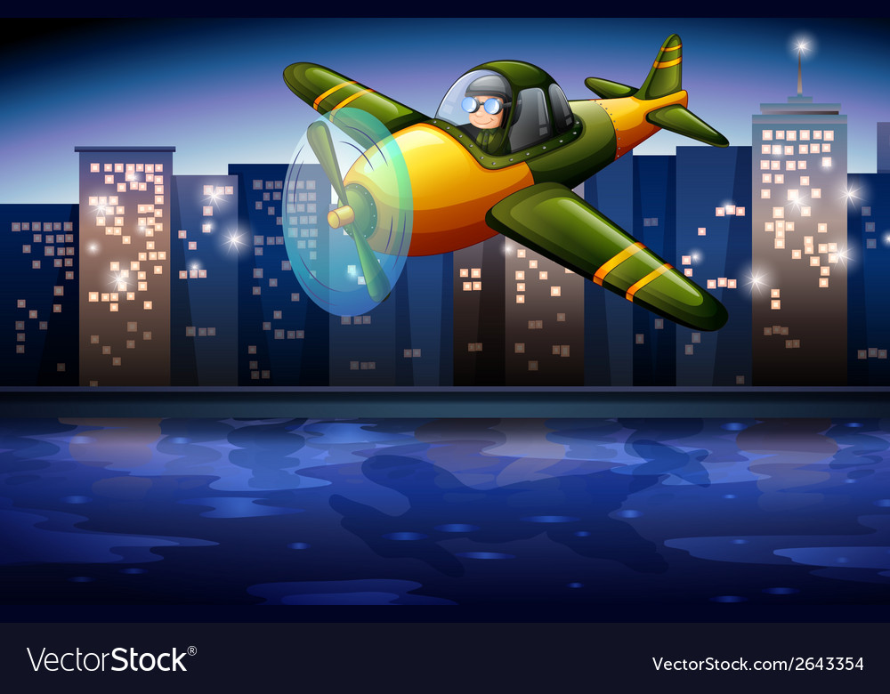 An airplane near the tall buildings vector | Price: 3 Credit (USD $3)