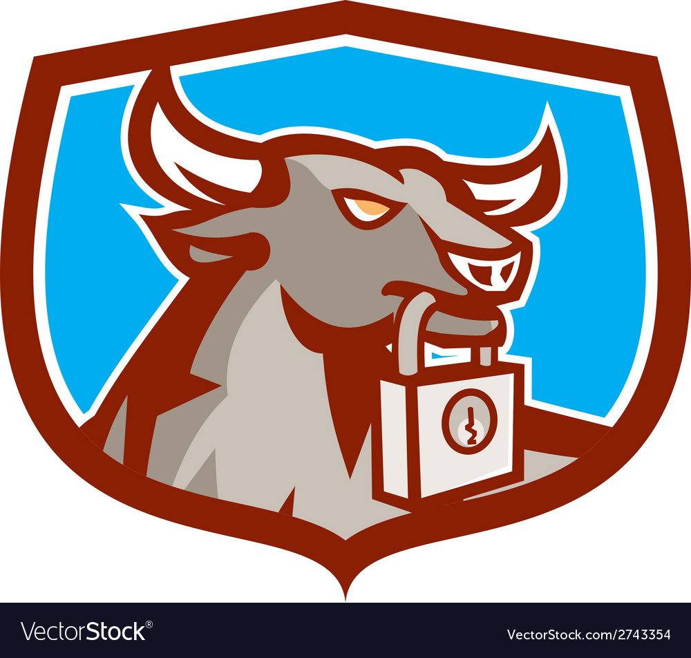 Angry bull head padlock shield retro vector | Price: 1 Credit (USD $1)