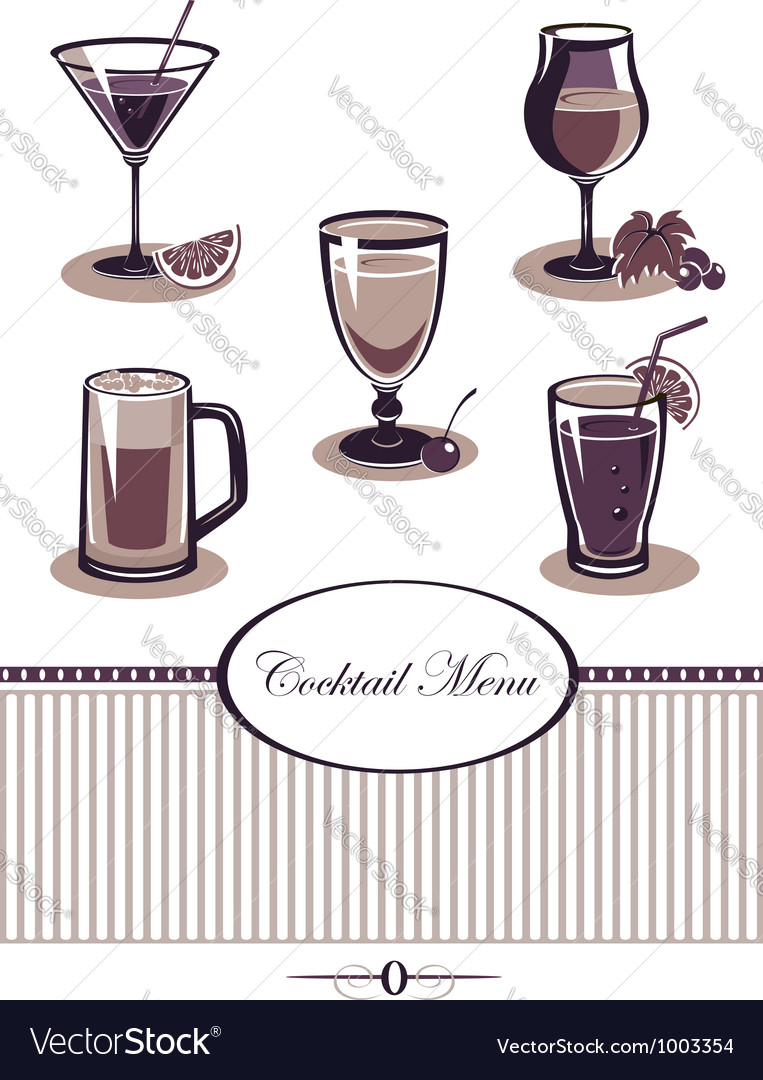 Drinks icons set purple menu vector | Price: 3 Credit (USD $3)
