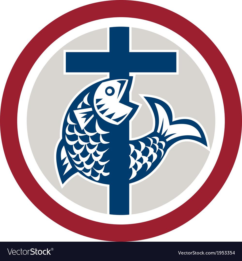 Fish on cross circle vector   Price: 1 Credit (USD $1)