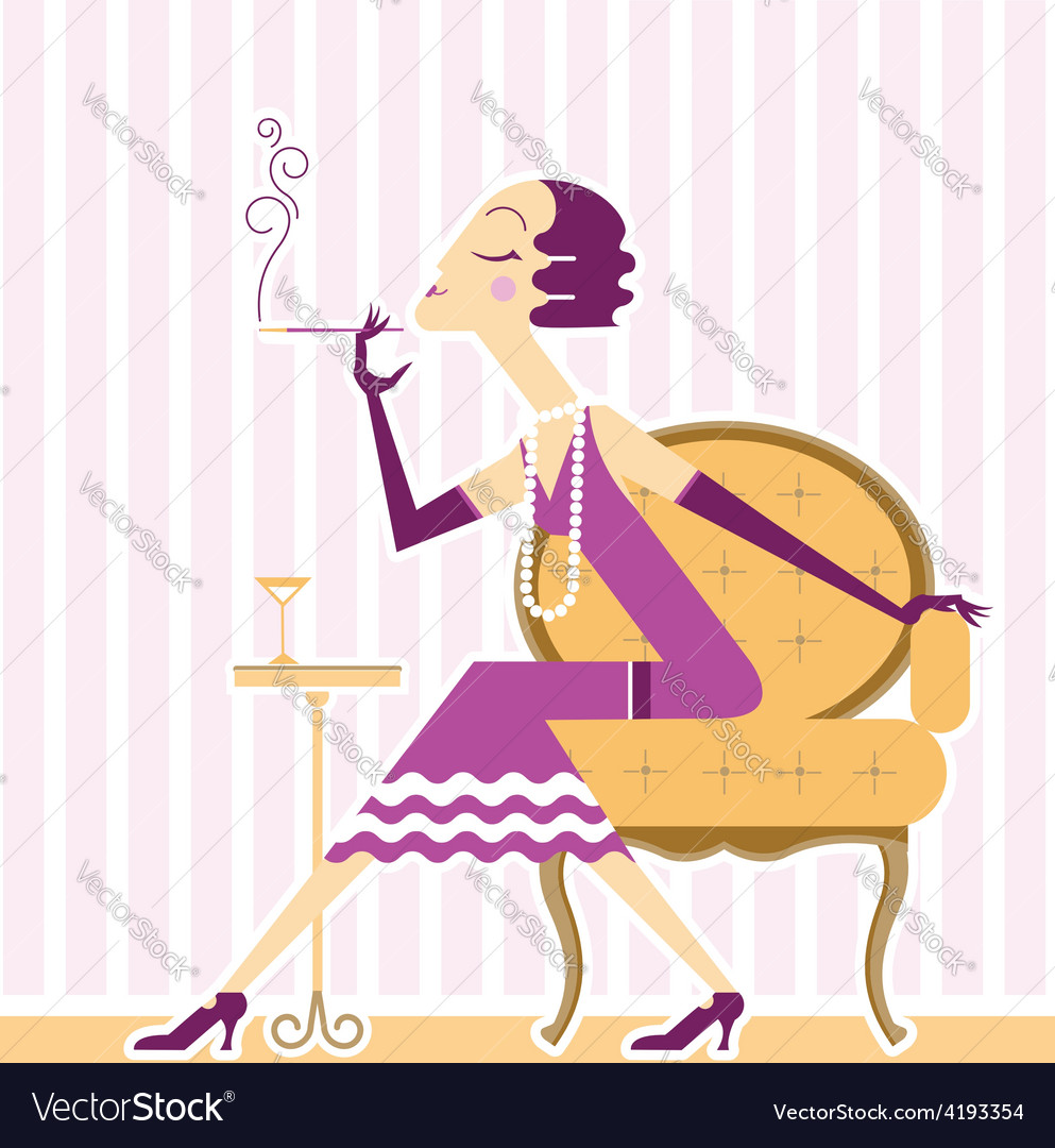 Flapper girl with cigaret vector | Price: 3 Credit (USD $3)