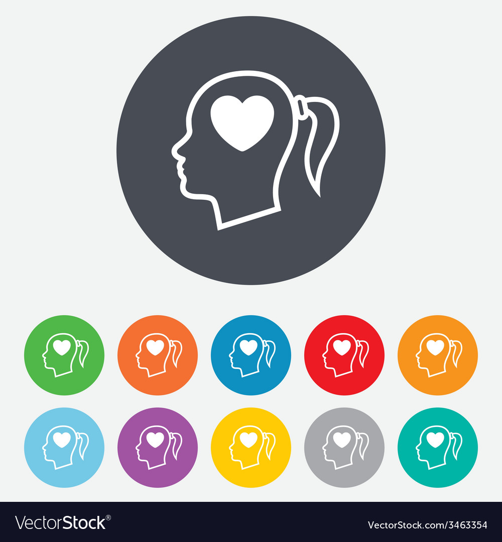 Head with heart sign icon female woman head vector | Price: 1 Credit (USD $1)