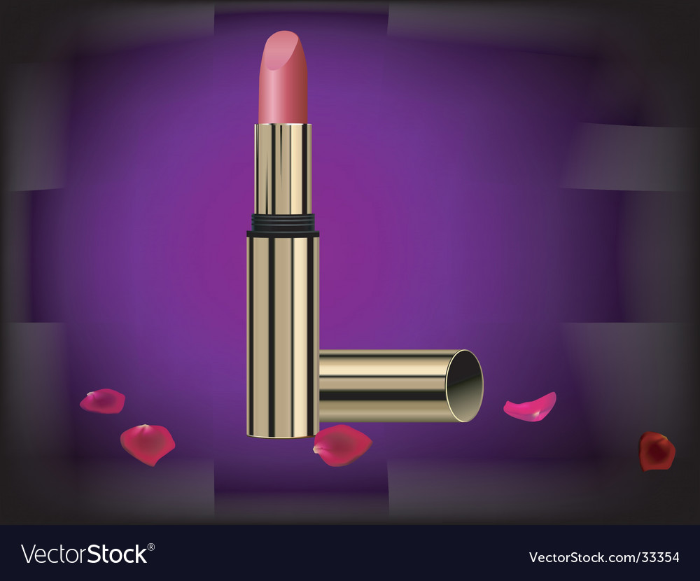 Lipstick and rose flower petal vector | Price: 1 Credit (USD $1)