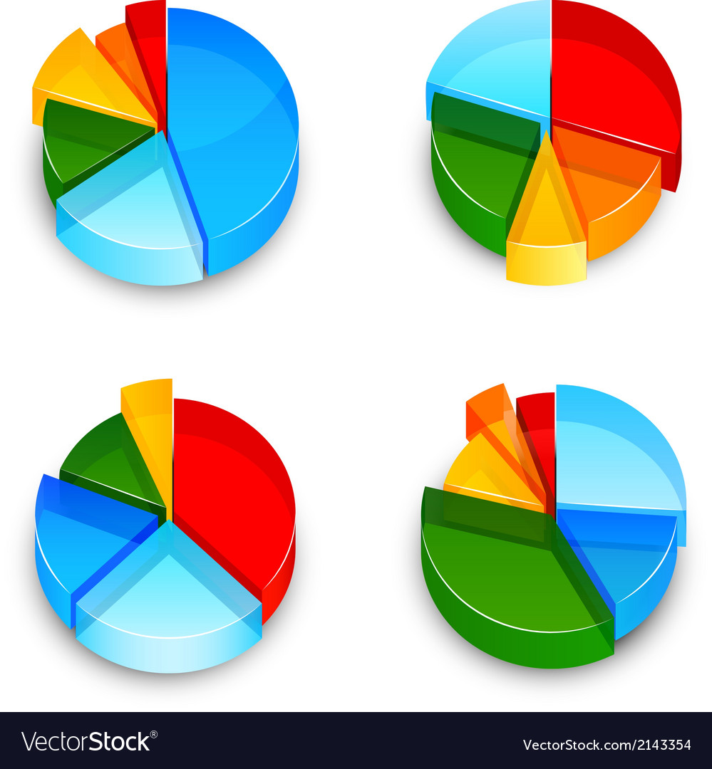 Pie chart 3d icons set vector | Price: 1 Credit (USD $1)