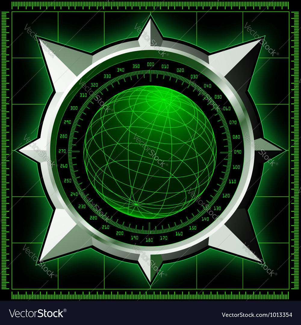 Radar screen with steel compass rose vector | Price: 1 Credit (USD $1)