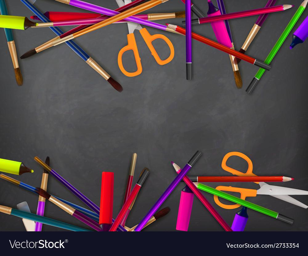 School supplies on blackboard plus eps10 vector | Price: 1 Credit (USD $1)