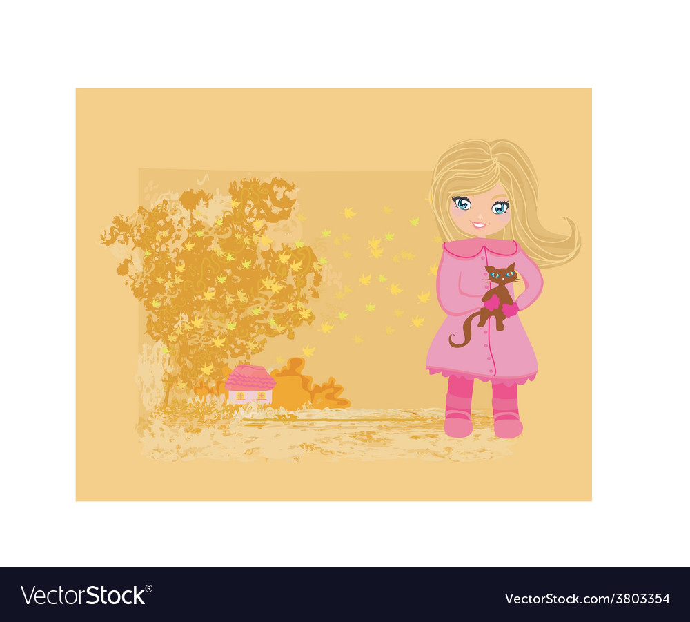 Sweet girl in autumn park and her cat vector | Price: 1 Credit (USD $1)