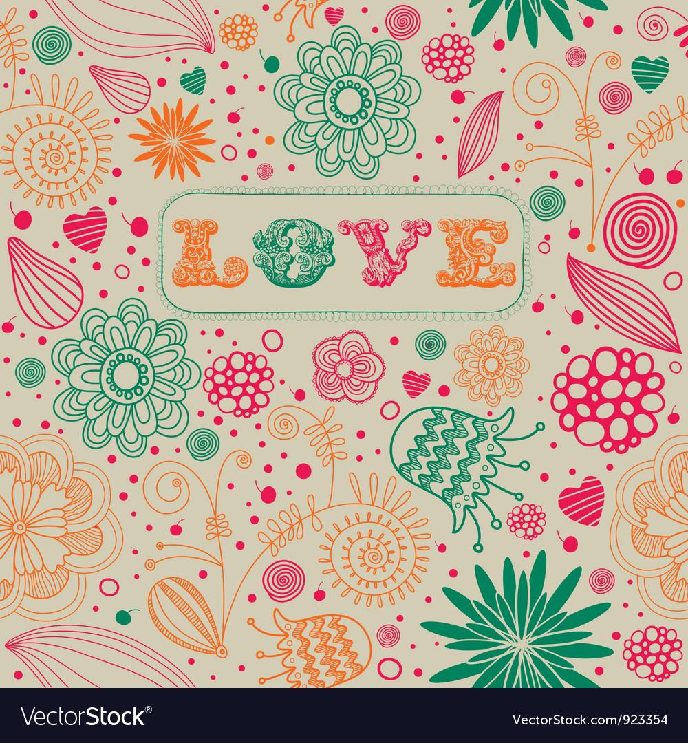 Vintage floral love background vector | Price: 1 Credit (USD $1)