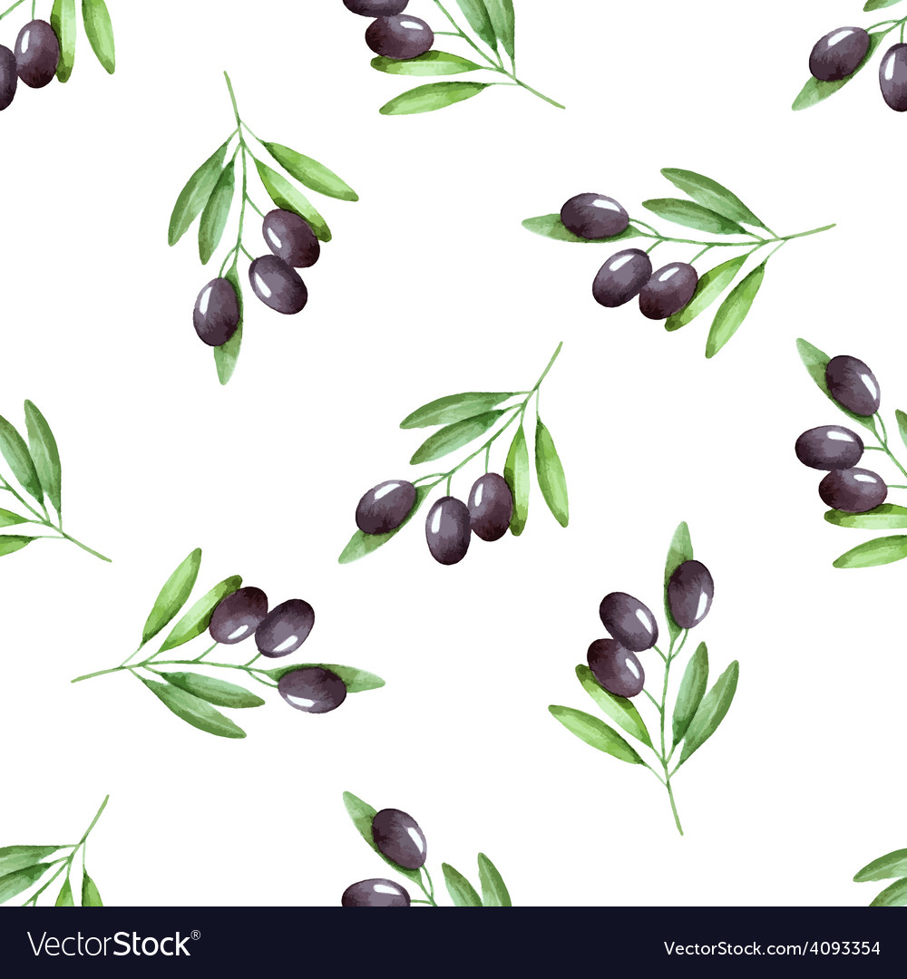 Watercolor branches of olives seamless pattern vector | Price: 1 Credit (USD $1)